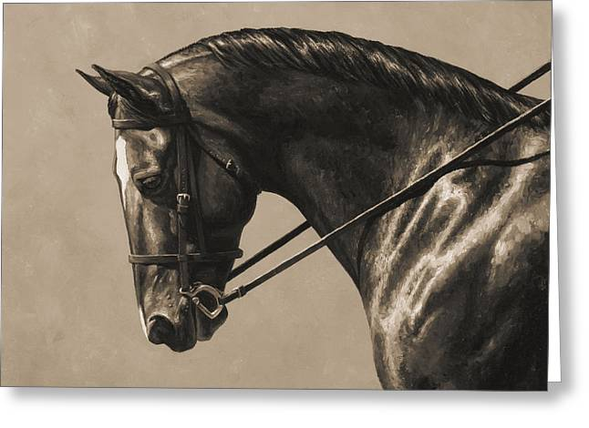 Equine Photo Greeting Cards - Dark Dressage Horse Aged Photo FX Greeting Card by Crista Forest
