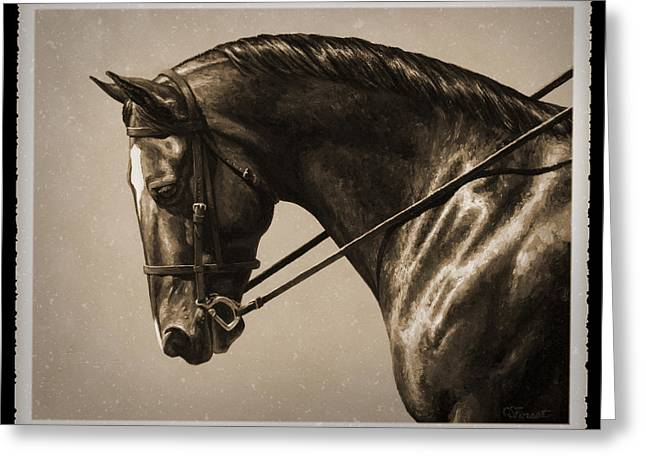 Show Horse Greeting Cards - Dark Dressage Horse Old Photo FX Greeting Card by Crista Forest