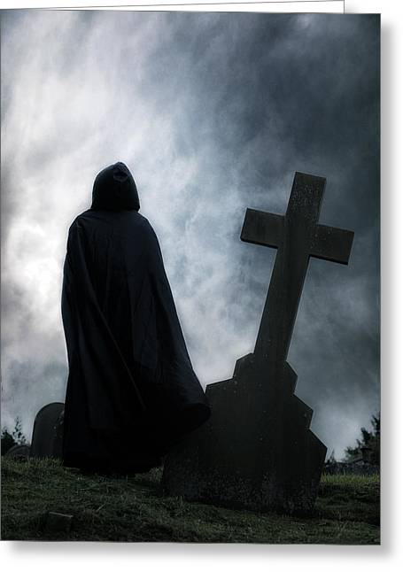 Gothic Cross Greeting Cards - Dark Figure Greeting Card by Joana Kruse