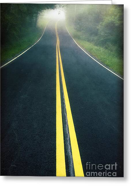 Yellow Line Photographs Greeting Cards - Dark Foggy Country Road Greeting Card by Edward Fielding