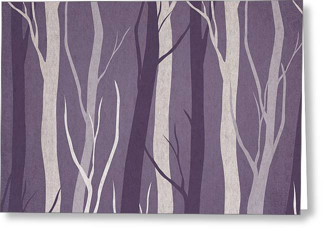 Tree Abstract Greeting Cards - Dark Forest Greeting Card by Aged Pixel