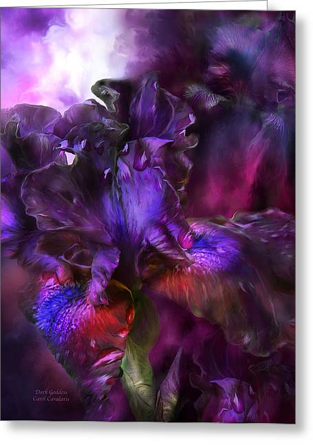 Iris Print Greeting Cards - Dark Goddess Greeting Card by Carol Cavalaris