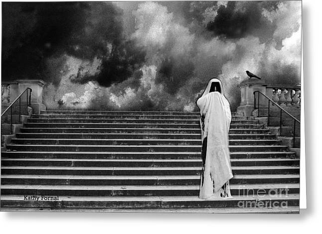 Fantasy Surreal Fine Art By Kathy Fornal Greeting Cards - Dark Gothic Black White Infrared Grim Reaper On Paris Steps With Black Raven and Storm Cloud Greeting Card by Kathy Fornal
