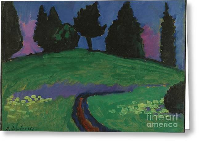 Strength Paintings Greeting Cards - Dark green trees on slope Greeting Card by Celestial Images