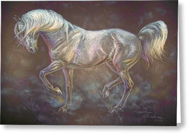 Equestrian Prints Pastels Greeting Cards - Dark Grey Andalusian Horse In Piaffe Greeting Card by Dorota Zdunska