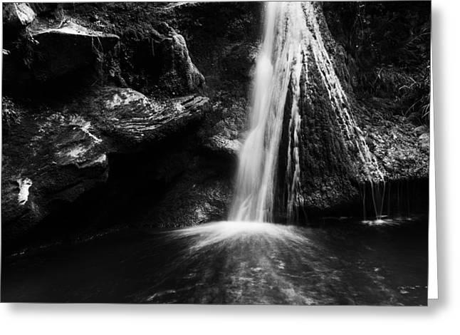 Bw Waterfalls Greeting Cards - Dark grotto waterfalls Greeting Card by Yuri Santin