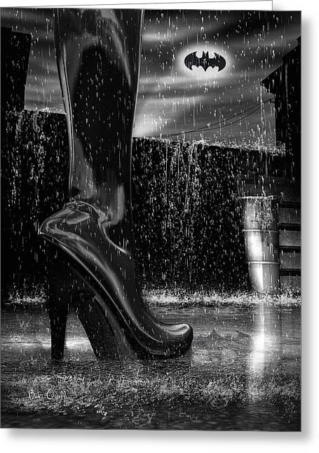 Batman Greeting Cards - Dark Knight Shinny Boots Of  Leather Greeting Card by Bob Orsillo