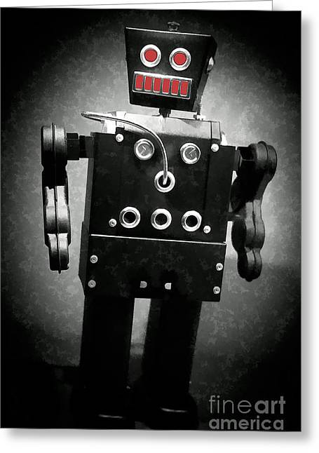 Invaders Greeting Cards - Dark Metal Robot Oil Greeting Card by Edward Fielding
