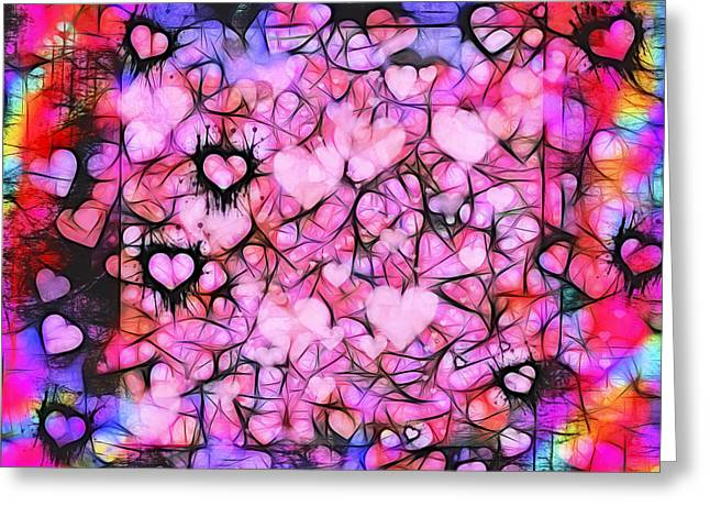 Divorce Greeting Cards - Moody Grunge Hearts Abstract Greeting Card by Marianne Campolongo