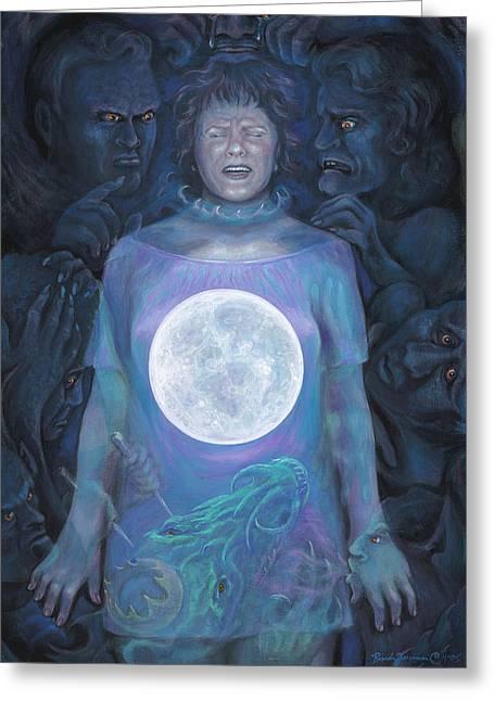 Inner Self Paintings Greeting Cards - Dark Night Greeting Card by Brenda Ferrimani