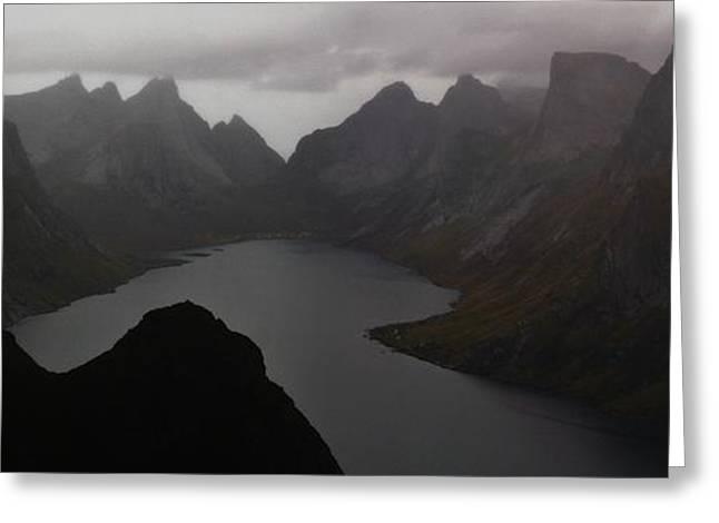 Nordland County Greeting Cards - Dark Northern Fjordland Greeting Card by David Broome