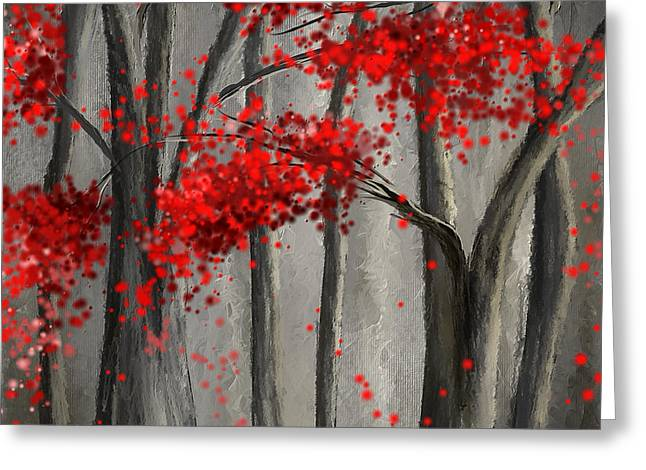 Dark Passion- Red And Gray Art Greeting Card by Lourry Legarde