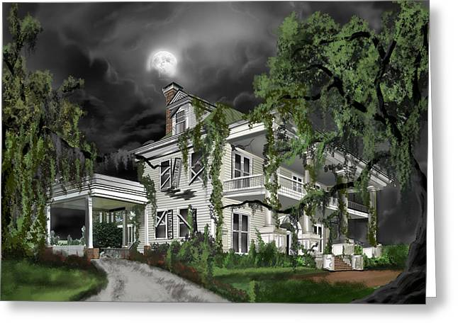 Thunderstorm Paintings Greeting Cards - Dark Plantation House Greeting Card by James Christopher Hill
