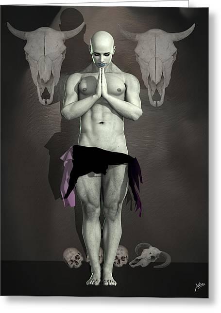 Freethinker Greeting Cards - Dark Priest By Quim Abella Greeting Card by Joaquin Abella