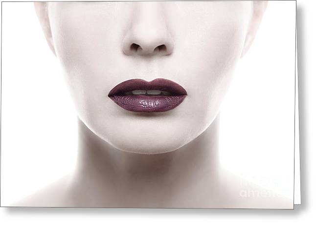 Pale Lipstick Greeting Cards - Dark Purple Lipstick on Pale Woman Face Greeting Card by Lars Zahner