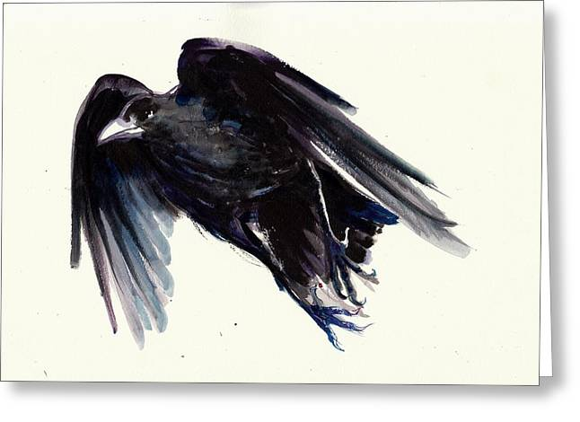Flying Witch Greeting Cards - Dark Raven in Flight - Crow Flying Greeting Card by Tiberiu Soos