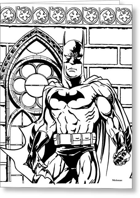 Gotham City Drawings Greeting Cards - Dark Reflections Greeting Card by Peter Melonas