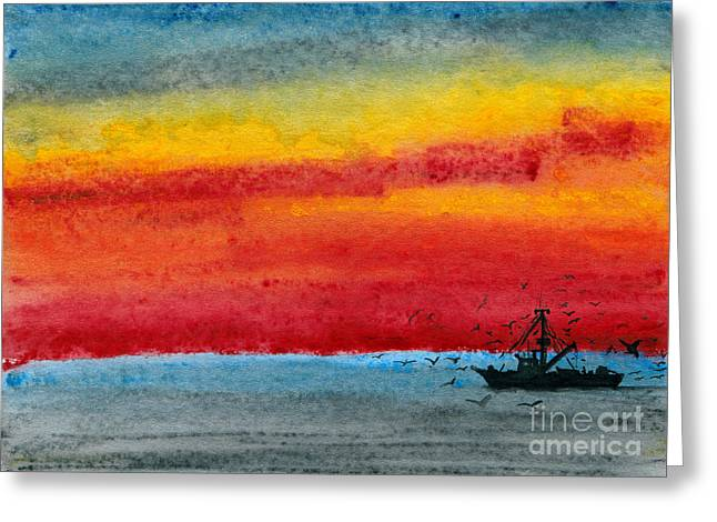 Gloaming Paintings Greeting Cards - Dark Return Greeting Card by R Kyllo