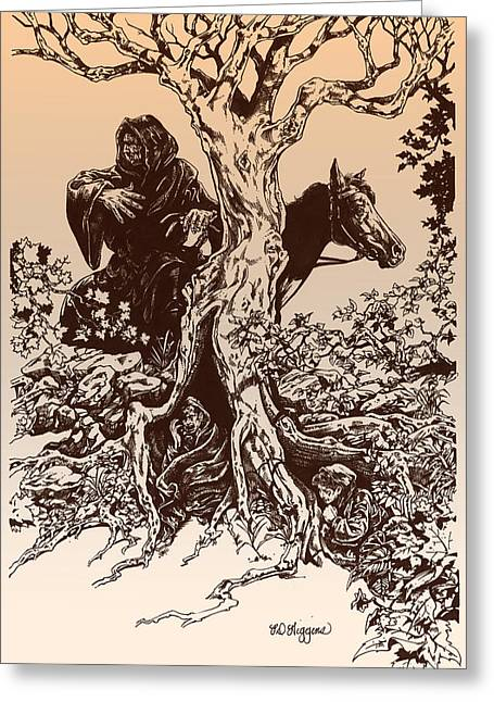 Lord Of The Rings Drawings Greeting Cards - Dark Rider-tolkien Appreciation Greeting Card by Derrick Higgins