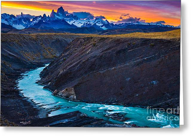 Roy Greeting Cards - Dark River Canyon Greeting Card by Inge Johnsson