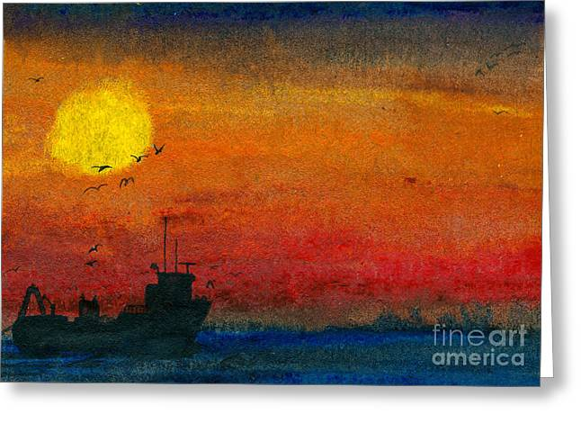 Gloaming Paintings Greeting Cards - Dark Sea Greeting Card by R Kyllo