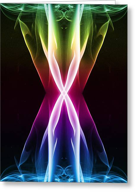 Algorithmic Abstract Greeting Cards - Dark Side of the Hourglass Greeting Card by Steve Purnell