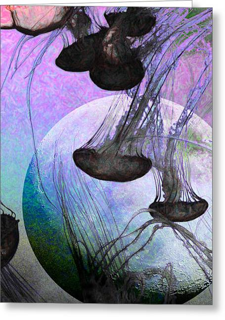 Jelly Fish Digital Art Greeting Cards - Dark Side Of The Moon 5D24939 Painterly p180 Long Greeting Card by Wingsdomain Art and Photography
