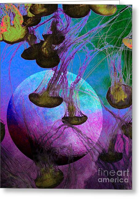 Jelly Fish Digital Art Greeting Cards - Dark Side Of The Moon 5D24939 Painterly p88 Greeting Card by Wingsdomain Art and Photography