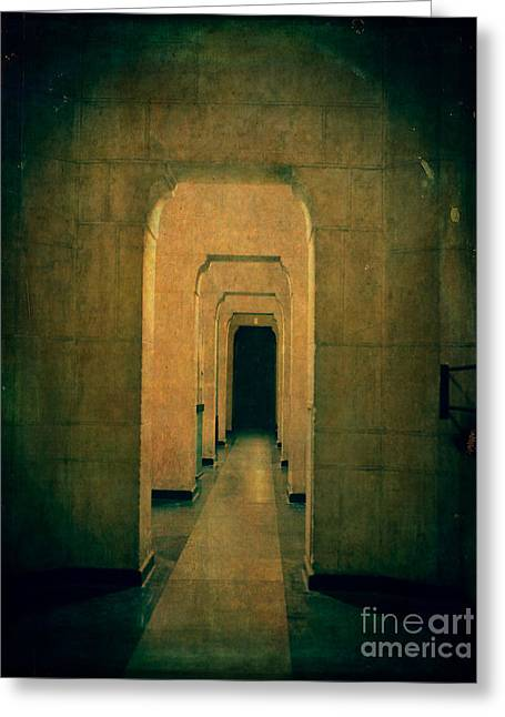 Dark Sinister Hallway Greeting Card by Edward Fielding