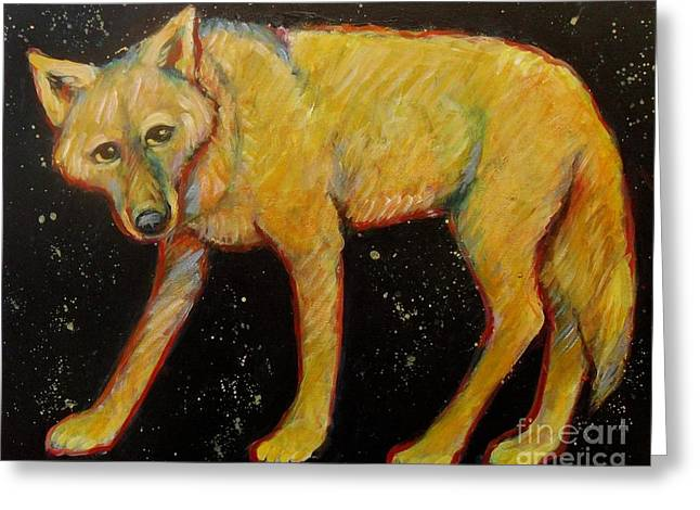 Brush Wolf Greeting Cards - Dark Sky Coyote Greeting Card by Carol Suzanne Niebuhr