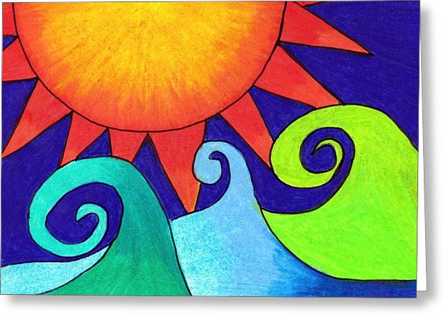 Waves Greeting Cards - Dark Sky Sunny Day Greeting Card by Geree McDermott