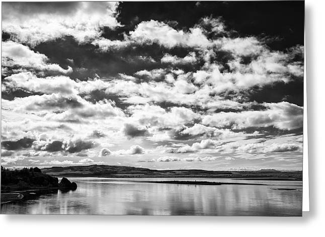 Grey Clouds Greeting Cards - Dark sky with clouds and water in Iceland Greeting Card by Matthias Hauser