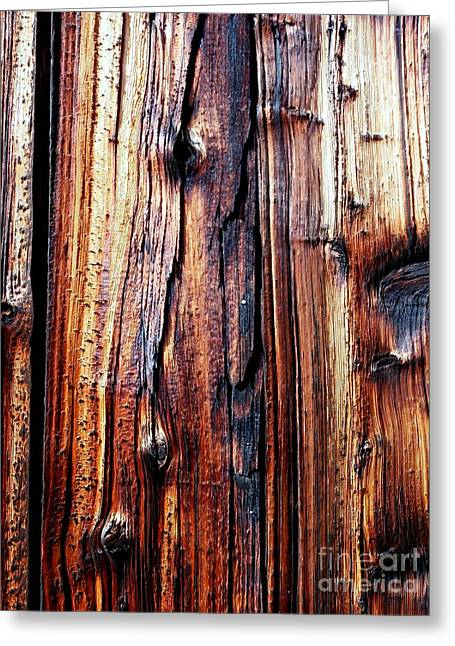 Knotty Greeting Cards - Dark Stained wood grain Greeting Card by Janine Riley