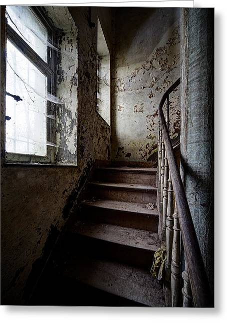 Ghost Castle Greeting Cards - Dark Stairs Haunted House Urban Exploration Greeting Card by Dirk Ercken