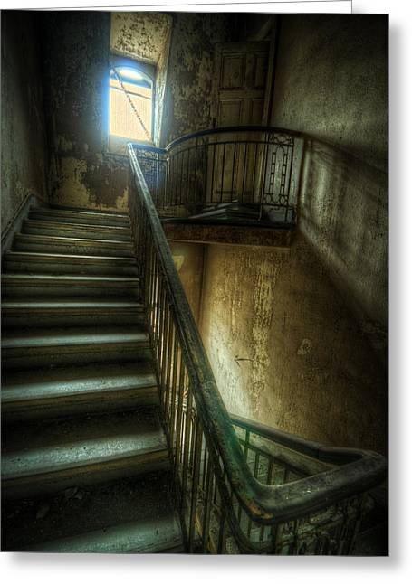 Empty Building Greeting Cards - Dark stairs Greeting Card by Nathan Wright
