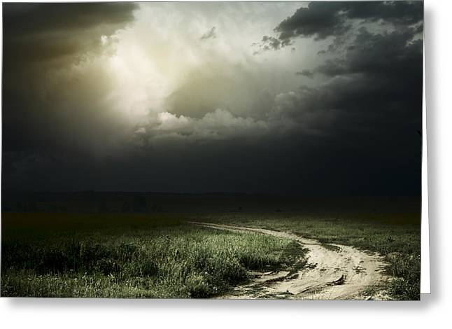 Dark Storm Cloud Greeting Card by Boon Mee