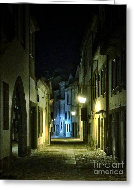 Night Lamp Greeting Cards - Dark Street Greeting Card by Carlos Caetano