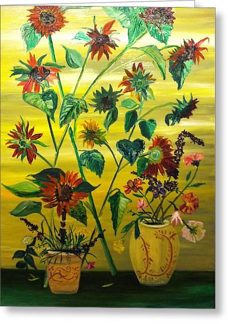 The Followers Greeting Cards - Dark Sunflowers Greeting Card by Joe Ballone