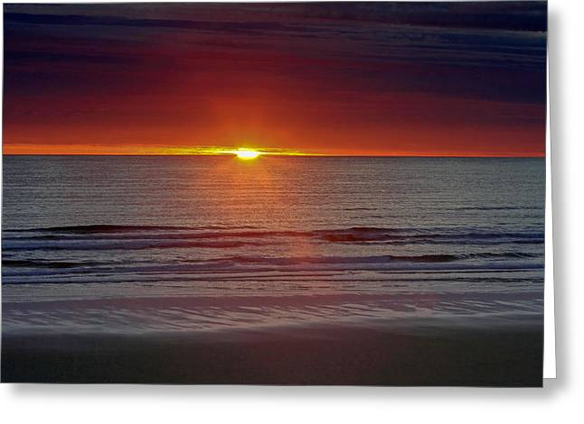 Ocean Vista Greeting Cards - Dark Sunset Greeting Card by Keith R Crowley