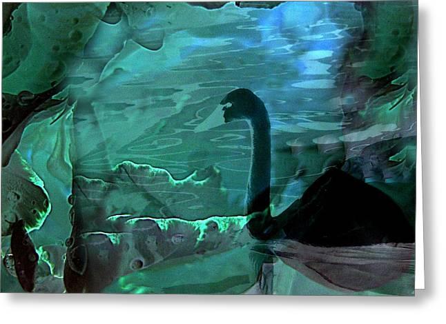 Shirley Sirois   Greeting Cards - Dark Swan Greeting Card by Shirley Sirois