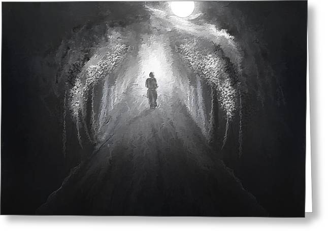Charcoal Paintings Greeting Cards - Dark To Light Greeting Card by Lourry Legarde