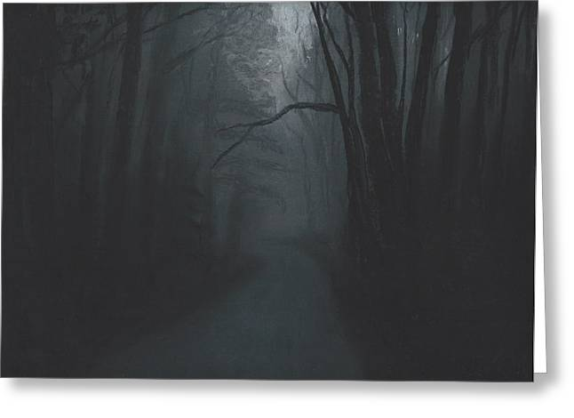 Creepy Pastels Greeting Cards - Dark Trail Greeting Card by Stacy Williams