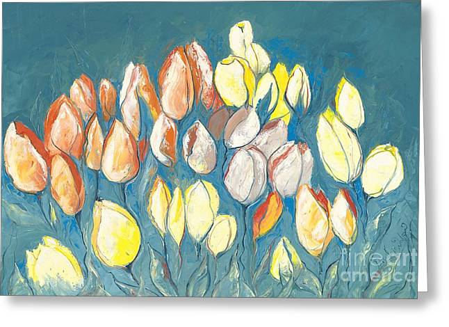 April Showers Greeting Cards - Dark Tulips Greeting Card by Priscilla  Jo