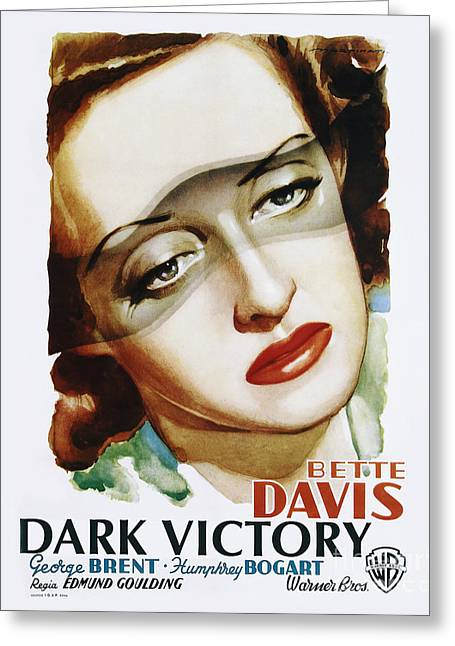 Classic Hollywood Photographs Greeting Cards - Dark Victory Movie Poster - Bogart and Davis Greeting Card by MMG Archive Prints