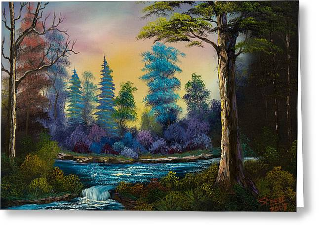Bob Ross Paintings Greeting Cards - Waterfall Fantasy Greeting Card by C Steele