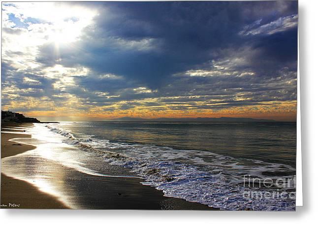 Santa Cruz Surfing Greeting Cards - Dark Waters Greeting Card by Shannan Peters