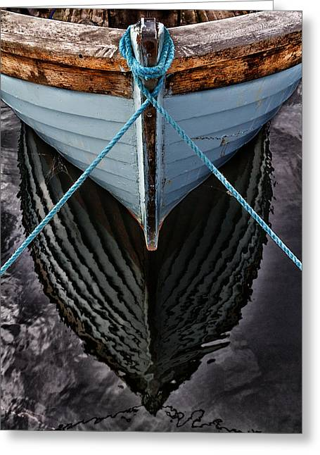 Fishing Boats Greeting Cards - Dark waters Greeting Card by Stylianos Kleanthous