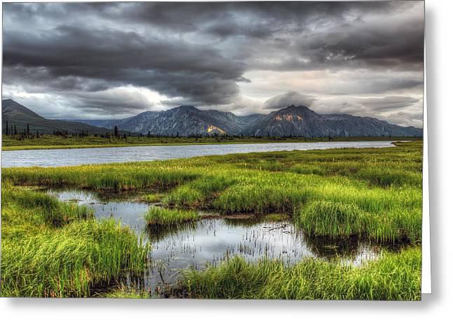 Alaska Lake Greeting Cards - Darkening Alaska Lake Greeting Card by Ron Day