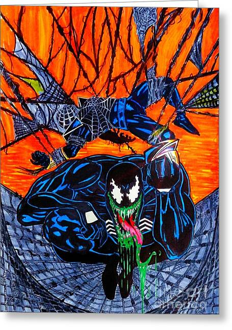 Justin Moore Greeting Cards - Darkhawk Issue 13 Homage Greeting Card by Justin Moore