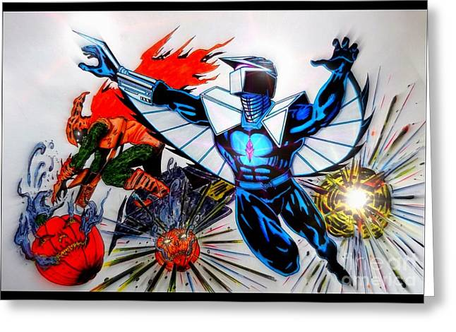 Pen And Ink Drawing Greeting Cards - Darkhawk Vs Hobgoblin Focused Greeting Card by Justin Moore